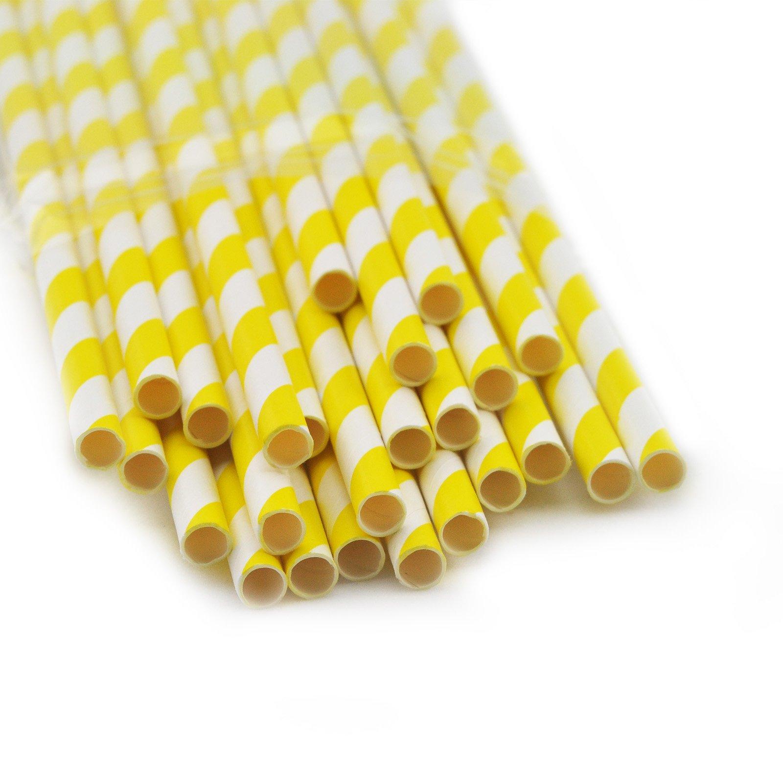 Denshine (TM) 25x Pailles de papier rayé pour fête décoration fête noël jaune