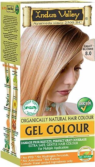 Indus Valley luz rubia gel cabello tinte colorante Kit 8,0