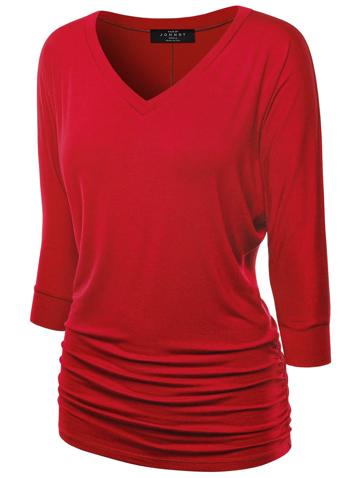 Made By Johnny Women's V-Neck/Boat Neck 3/4 Sleeve Drape Dolman Shirt Top with Side Shirring