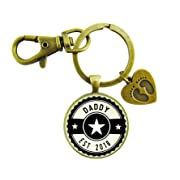 Daddy Established 2018 Keychain New Dad First Father's Day Vintage Bronze Keychain Baby Feet Charm