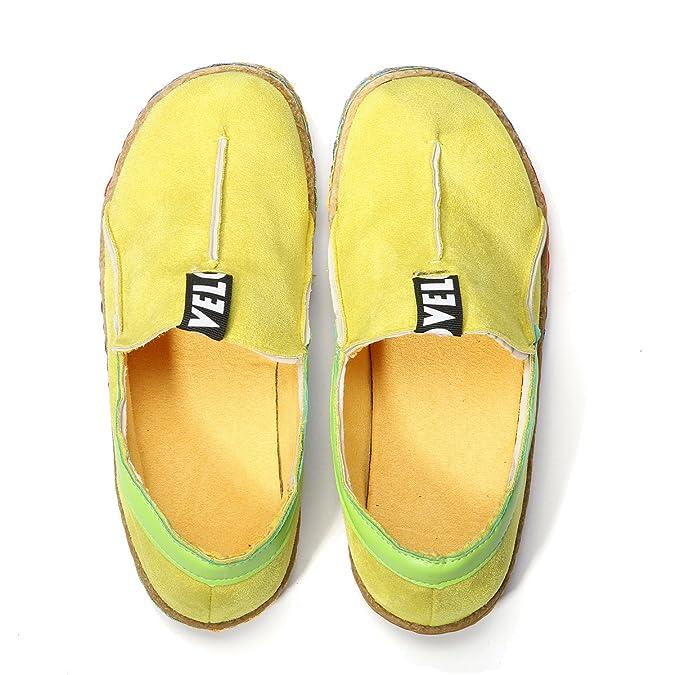 Tezoo Damen Espadrilles, Hausschuhe Slipper Mokassins Bootsschuhe Flache Schuhe Ultra Weich Bequem Komfortabel Braun Gelb