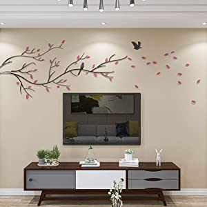 DecorSmart 3D Chinese Style Couple Tree and Flying Birds Wall Murals Decor for Living Room TV Background Decorations, Removable DIY Acrylic Spring Scenery Wall Stickers