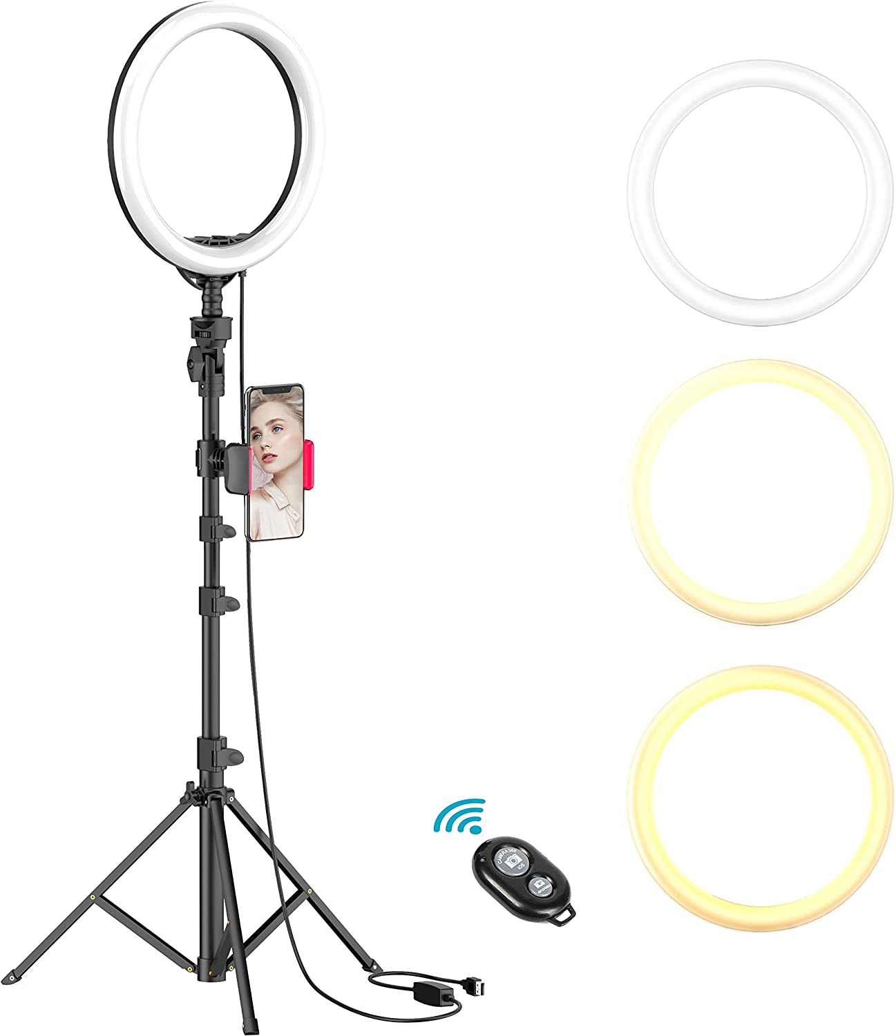 "10"" Selfie Ring Light with Tripod Stand & Cell Phone Holder for Live Stream/Makeup, Dimmable Led Camera Beuty Ringlight for YouTube Video/Photography Compatible for iPhone and Android Phone (UPGRADED)"