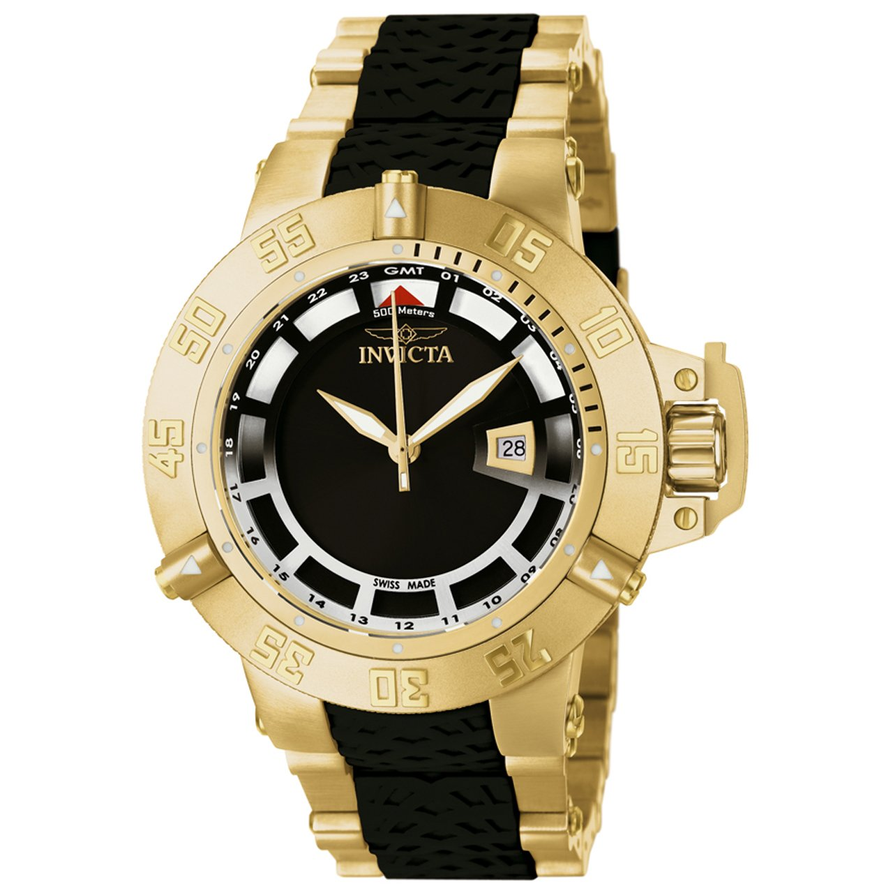 Amazon.com: Invicta Mens 6508BYB Subaqua Noma III GMT 18k Gold-Plated Stainless Steel and Black Polyurethane Watch: Watches