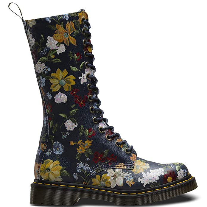 Amazon.com | Dr. Martens Womens 1B99 Darcy Floral Backhand Leather Zip Boot Navy | Mid-Calf