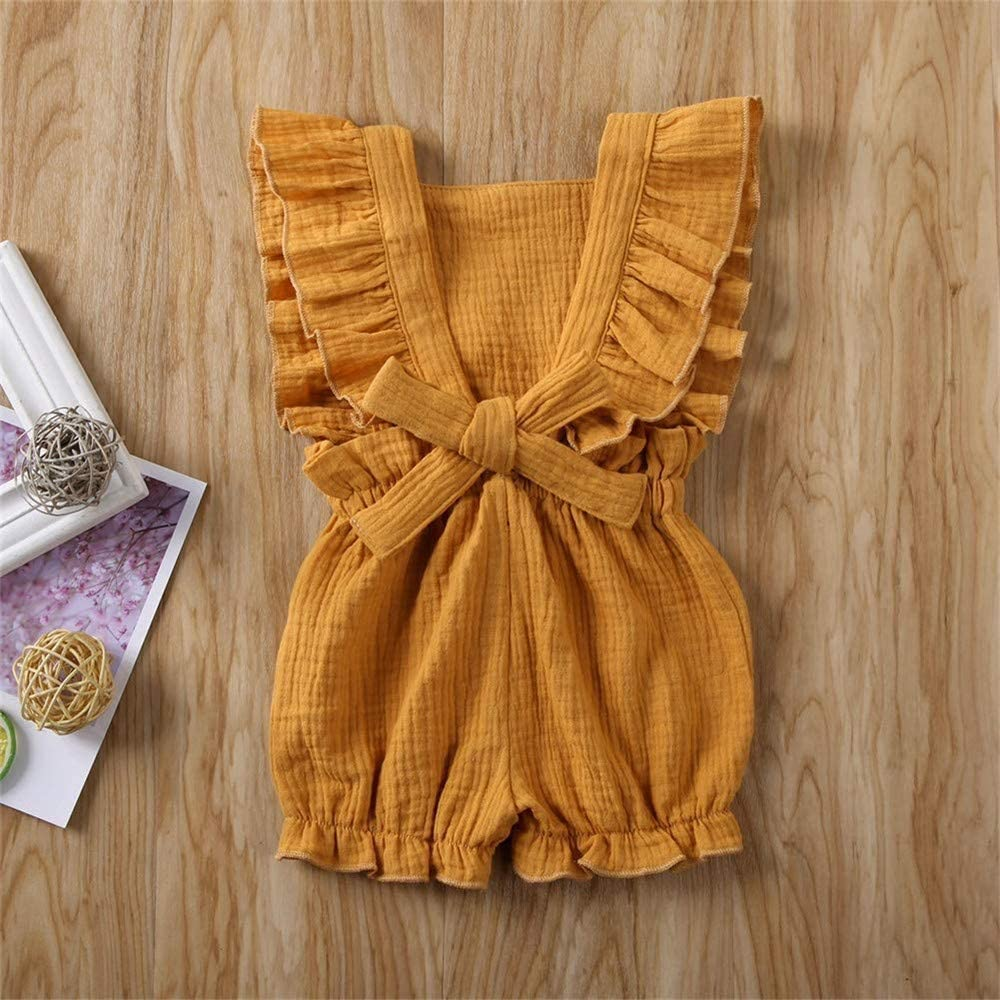 DuAnyozu Toddler Little Baby Girls Ruffles Linen Romper Jumpsuit Sleeveless One-Piece Outfit Summer Clothes