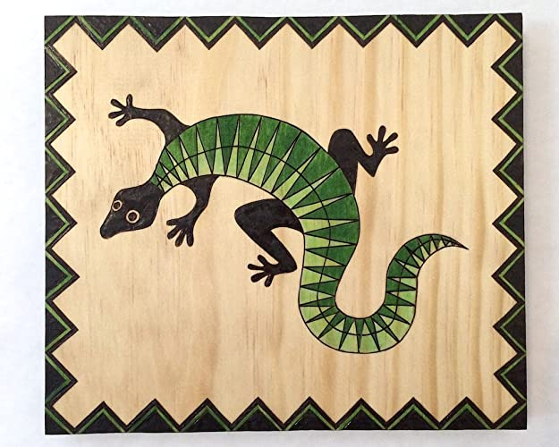 Amazon.com: Handcrafted Green and Black Aztec Jungle Lizard ...