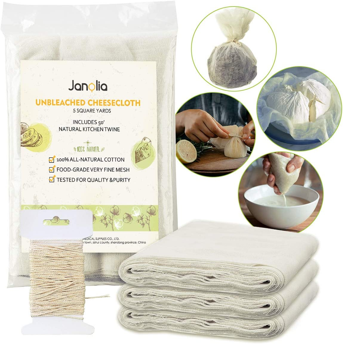 Janolia Cheesecloth, Nut Milk Bag Reusable, 45 Sq. Ft, Grade 50, with 15.2m Twine, Natural Cotton Fabric Filter Cloth, Ultra Fine Mesh Muslin for Steaming Food, Dry Food Storage, Food Straining