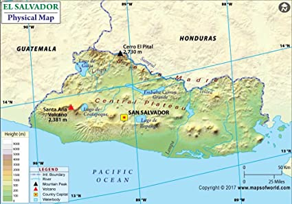 Amazon.com : El Salvador Physical Map - Laminated (36\