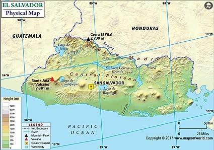 Amazon.com : El Salvador Physical Map - Laminated (36\