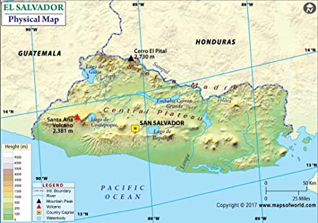 Amazoncom El Salvador Physical Map 36 W x 2525 H Office