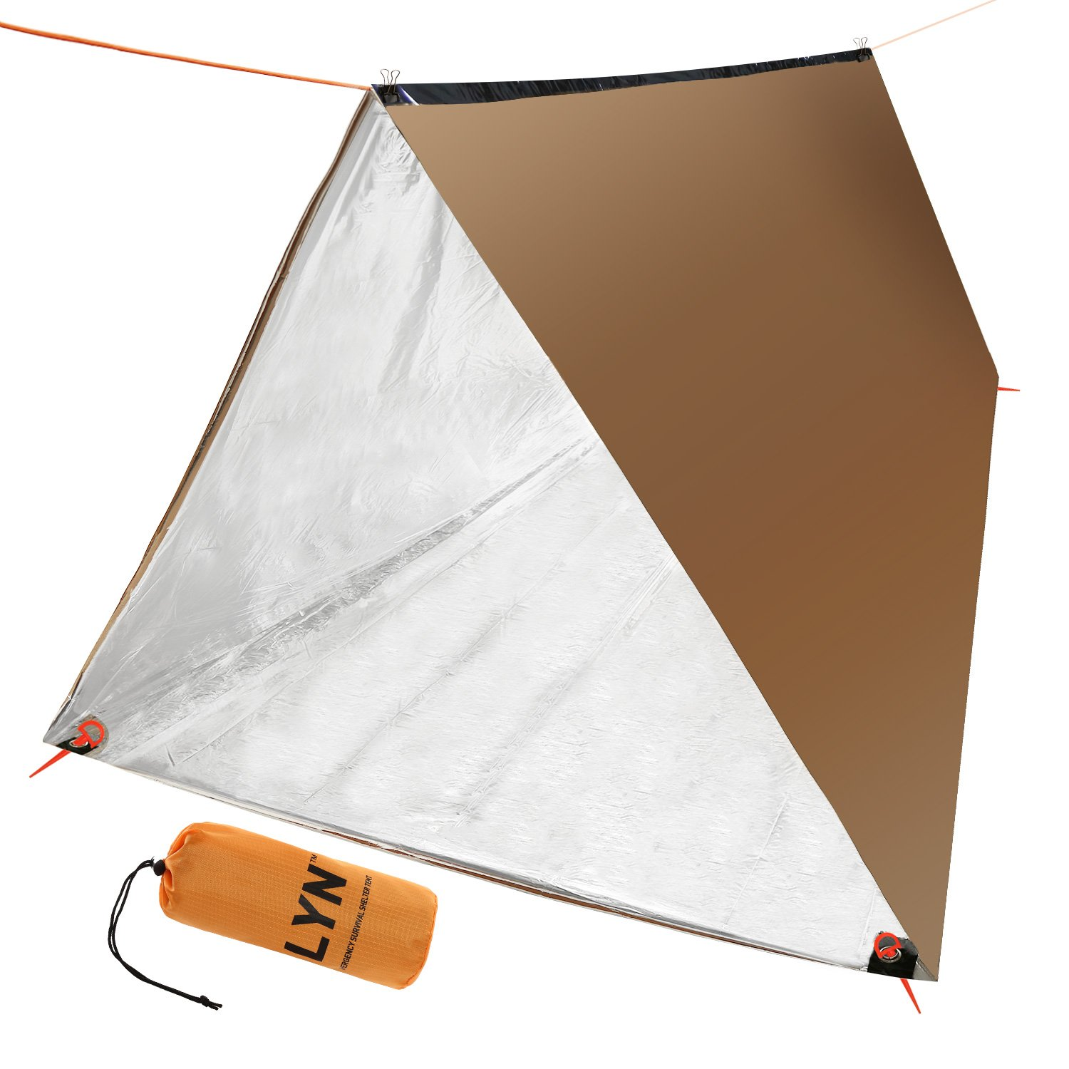 Emergency Survival Tent Mylar Thermal Waterproof for Camping Picnic 2 Person Bronze Tube Tent by LYN
