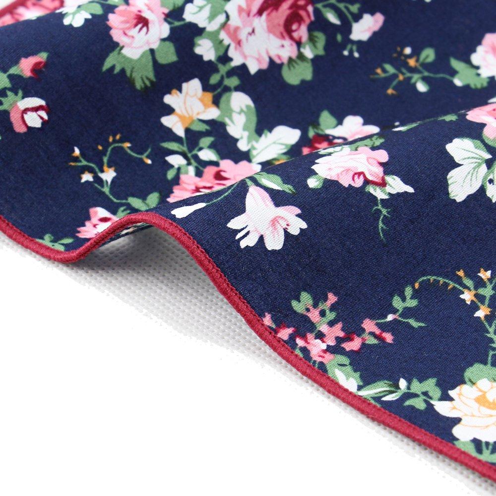 6 Pcs Men's Handkerchiefs Cotton Floral Pocket Squares for Men Ladies Hankies by MarJunSep (Image #3)