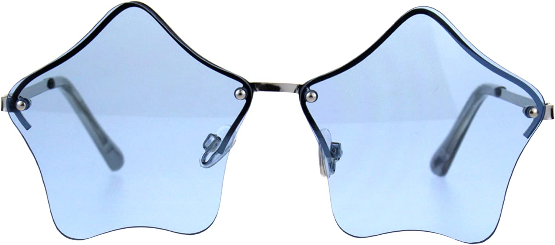 Amazon Com Star Shape Sunglasses Cute Stars Blue Lens Half Rimless Frame Uv 400 Clothing