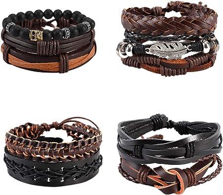 Fashion Hommes Cuir Bracelet Manchette Ouverte Corde Bracelets Large Punk Bracelet