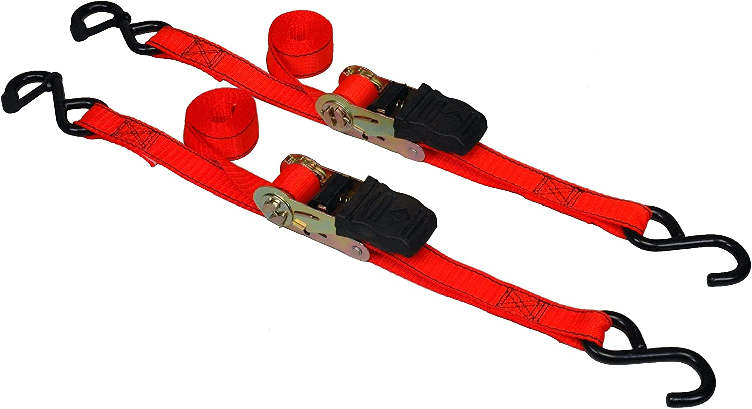 2 Piece Highland 1152101 Orange 6 Padded Ratchet Tie Down with Hooks