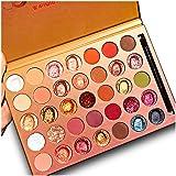 Pro 35 Colors Glitter Eyeshadow Palette,Professional Fine Pressed Soft Creamy Metallic Matte Shimmer Glitter Ultra Eye Shadow