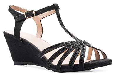 da02f945197 Image Unavailable. Image not available for. Color  OLIVIA K Women s Open  Toe Glitter Shimmer T-Strap Cage Low Heels Wedge Sandal
