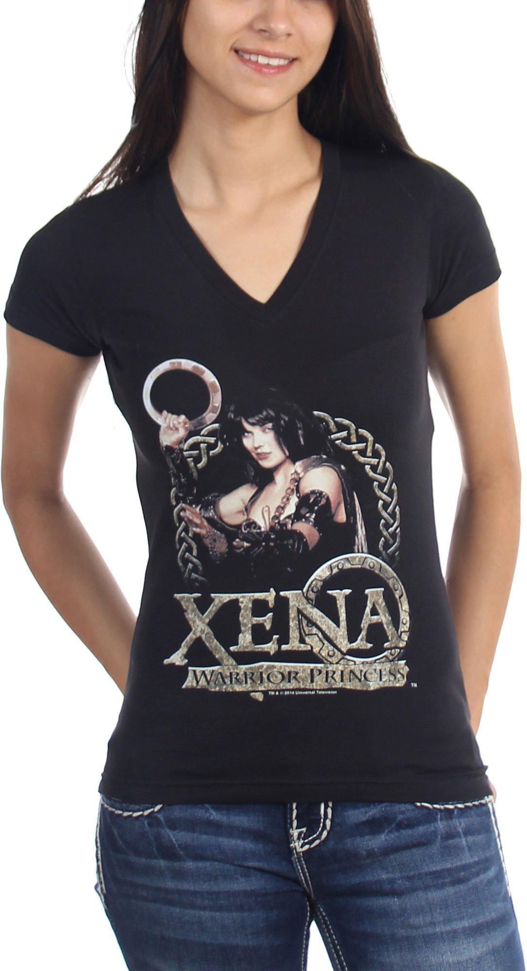 Xena Warrior Princess Royalty Vneck Tshirt Color Black
