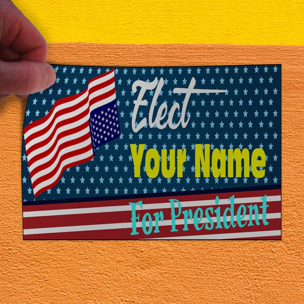 Custom Door Decals Vinyl Stickers Multiple Sizes Elect Name for Position Blue A Political Elect Signs Outdoor Luggage /& Bumper Stickers for Cars Blue 34X22Inches Set of 5