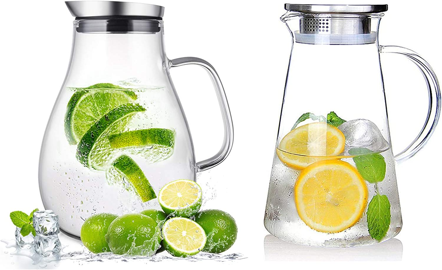 SUSTEAS 2.0 Liter 68 Ounces Glass Pitcher With Lid, Water Jug for Homemade Beverage