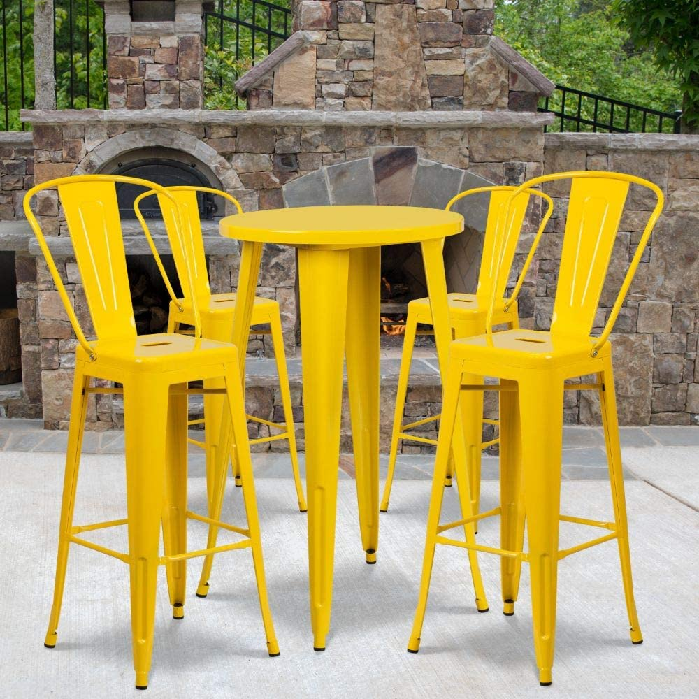 """Flash Furniture Commercial Grade 24"""" Round Yellow Metal Indoor-Outdoor Bar Table Set with 4 Cafe Stools"""