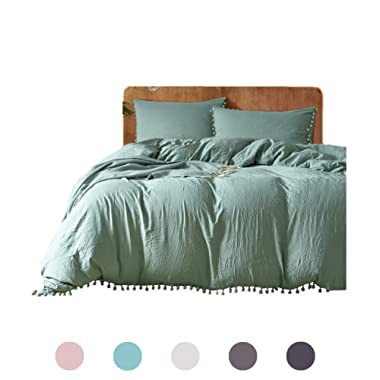 MOVE OVER 3 Pieces Dark Green Bedding Green Duvet Cover Set Ball Fringe Pattern Design Soft Dark Sea Green Bedding Sets Queen One Duvet Cover Two Ball Fringe Pillow Shams (Queen, Dark Sea Green)