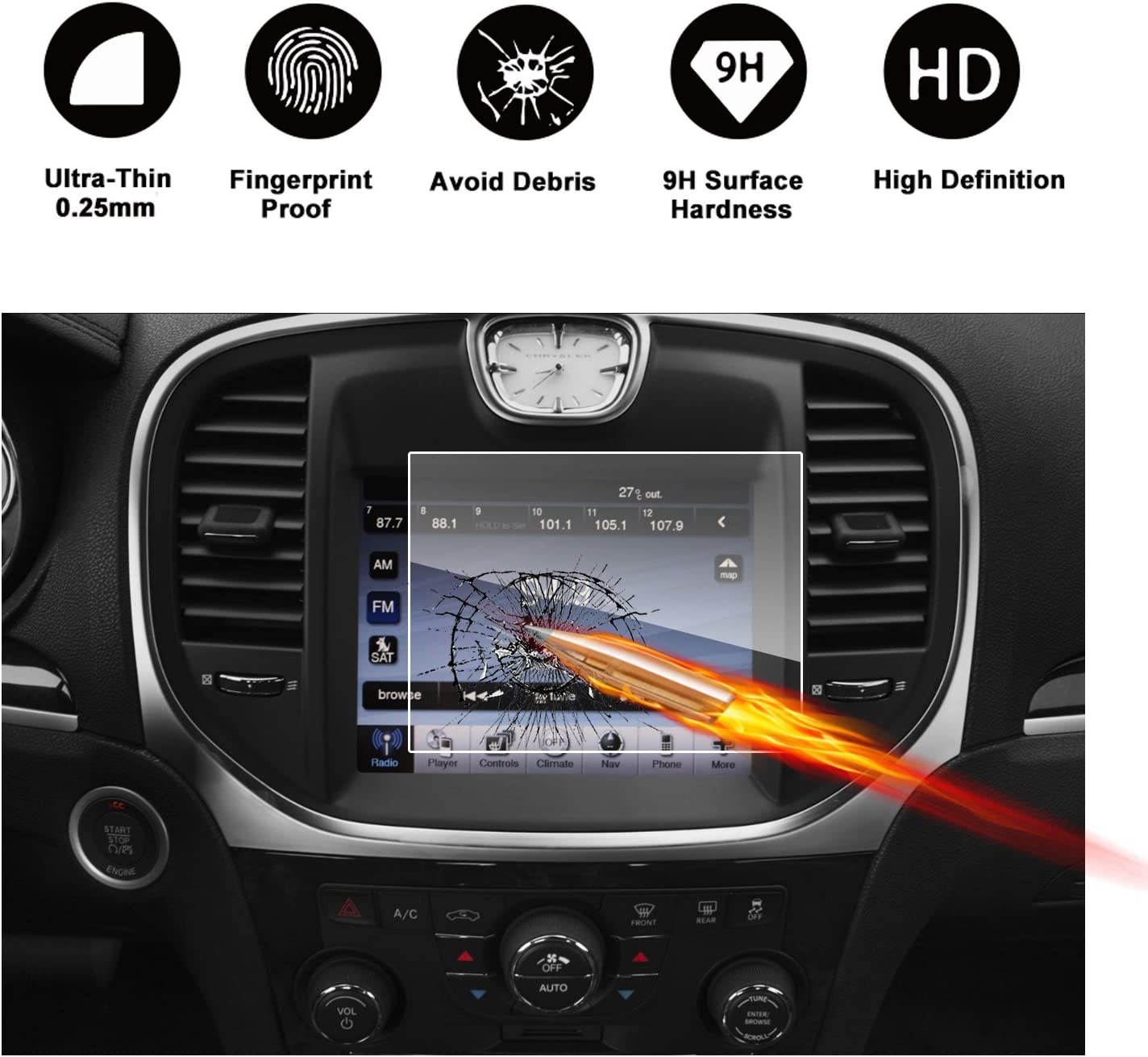 2011-2018 Chrysler 300 Uconnect 8.4 Inch Touch Screen Car Display Navigation Screen Protector RUIYA HD Clear TEMPERED GLASS Car In-Dash Screen Protective Film