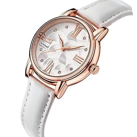 Gokelly wwoor Mujer Blanco Piel Rose Gold Diamond Relojes Ladies Femme Casual Vestido reloj reloj de