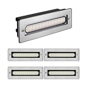 Parlat LED Treppen Licht Treppenbeleuchtung Für Außen Eckig 20x7cm 230V  Warm Weiß, 5