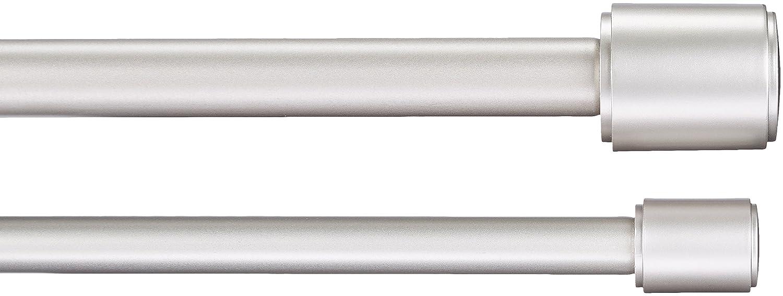 AmazonBasics - Barra de cortina doble, 2,54 cm, con terminales de tapón, 1,83 a 3,65 m, Níquel: Amazon.es: Hogar