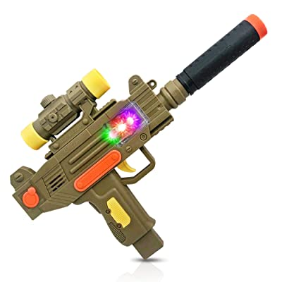 ArtCreativity LED Uzi Style Play Gun with Lights and Sound - 12.5 Inch Toy Machine Gun with Silencer, Awesome LED and Realistic Sound Effects - Pretend Play Firearm Toy - Best Birthday Gift for Kids: Toys & Games