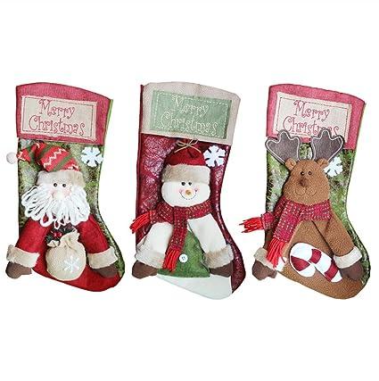 hengjuxin Classic medias de Navidad 18 cm de decoración navideña, grande personalizado medias, juego