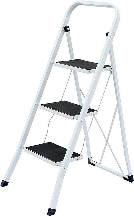 Escalera plegable CH Handel de 2 3 a 4 peldaños, escalera para el hogar, escalera plegable de acero: Amazon.es: Hogar