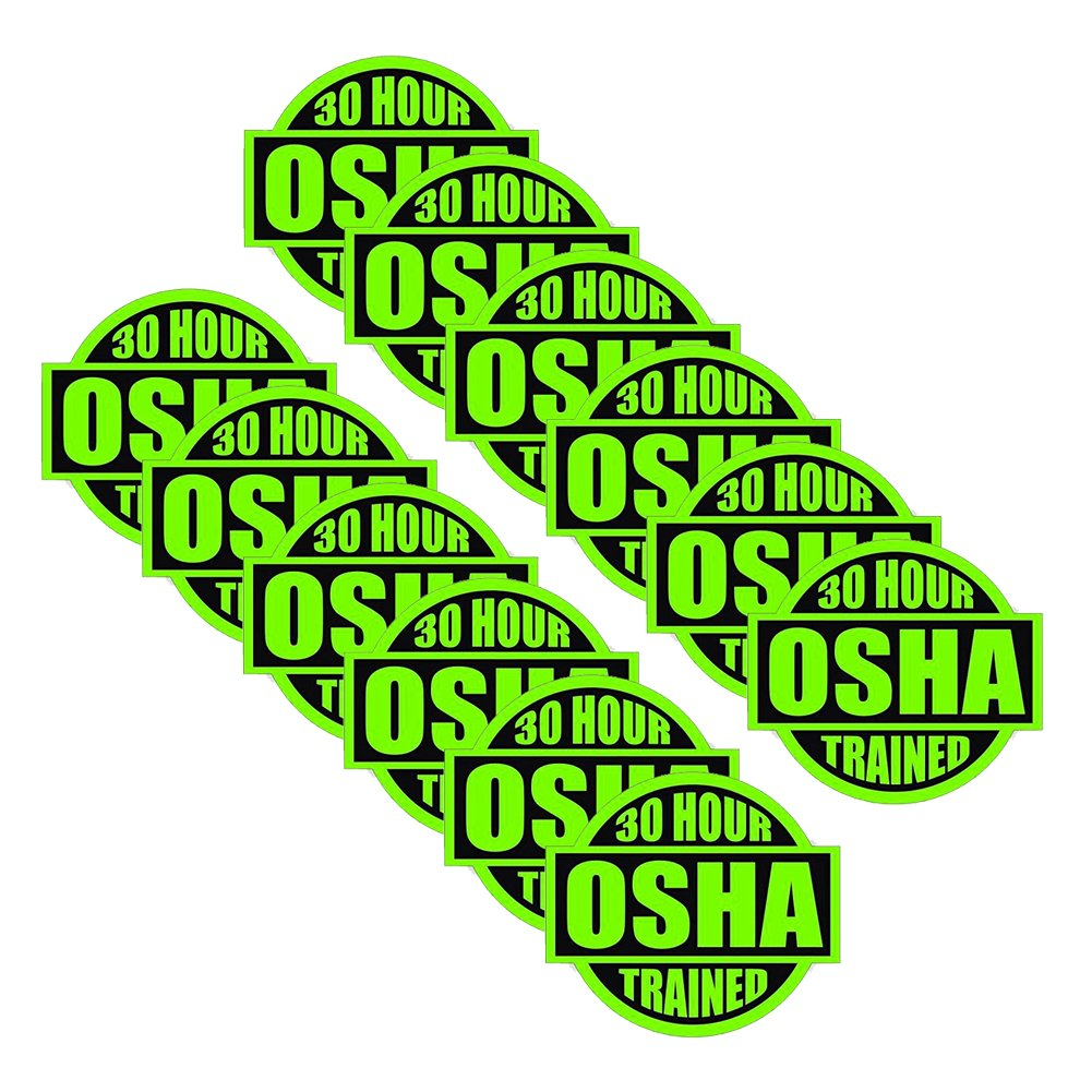 30 Hour OSHA Trained (12pack) size: 2'' ROUND by StickerDad color: LIME GREEN/BLACK - Full Color Printed Sticker for Hard Hat, Helmet, Windows, Walls, Bumpers, Laptop, Lockers, etc. by StickerDad (Image #1)