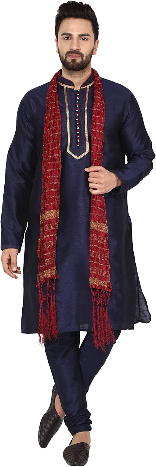 SKAVIJ Mens Tunic Ethnic Wear Kurta Pajama and Scarf Wedding Party Dress Set
