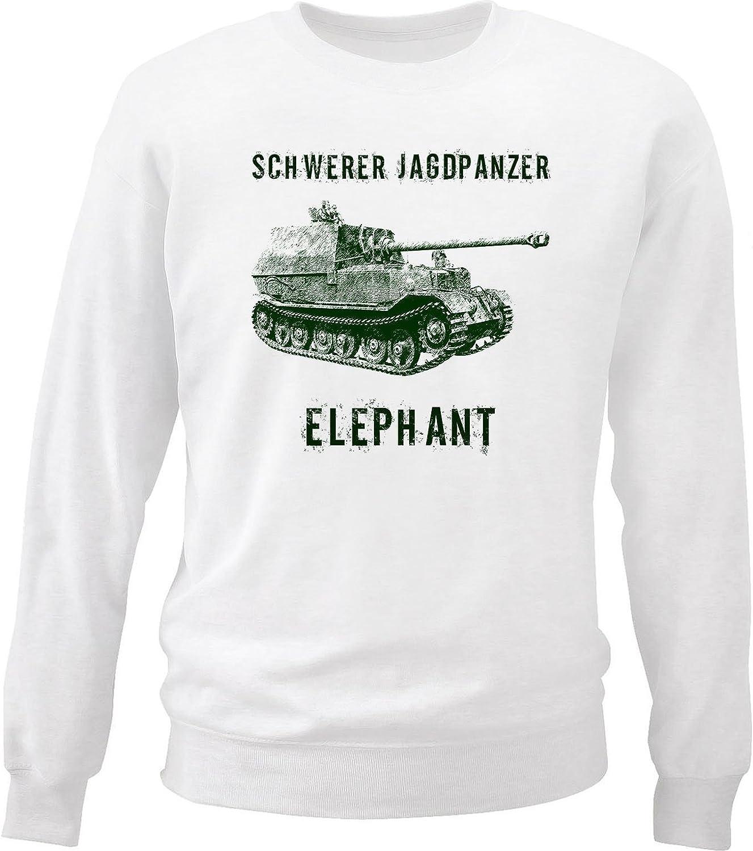 teesquare1st Mens Schwerer JAGDPANZER Elephant White Sweatshirt