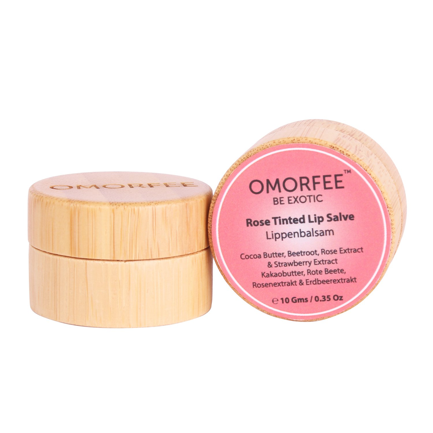 OMORFEE Rose Tinted Lip Salve with Beetroot Extract, Natural Cocoa Butter, Rose Extract and Strawberry Extract, 10 Grams