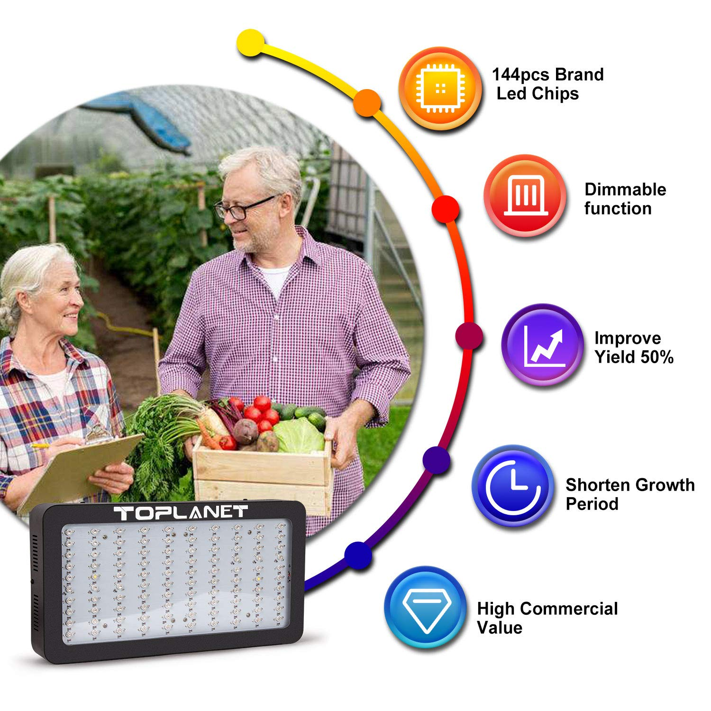 TOPLANET 75W LED Cultivo con Control de Temporizador 6 Modes Plantas LED Grow Light Espectro Completo Lampara para Plants Red//Blue//IR para Interior//Invernadero//Grow Box Vegetal Crecimiento