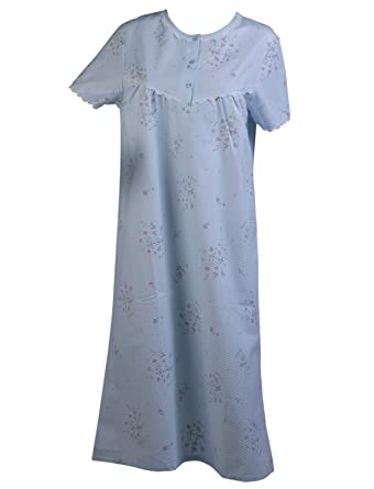 2749fe8431 Slenderella Ladies Floral Seersucker Nightdress Short Sleeve Lace Trim Womens  Nightie (Blue Pink)  Amazon.co.uk  Clothing