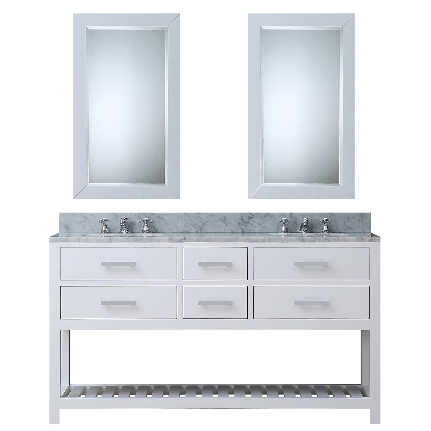 White double bathroom vanity - Water Creation Madalyn 60wc 60 Inch Solid White Double Sink Bathroom Vanity With 2 Matching Framed Mirrors Pure White Amazon Com