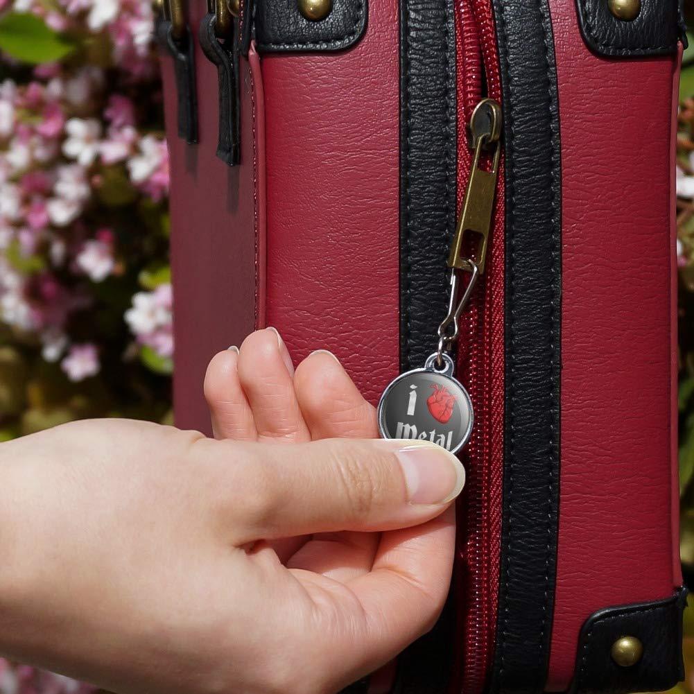 I Heart Metal Love Funny Humor Jacket Handbag Purse Luggage Backpack Zipper Pull Charm