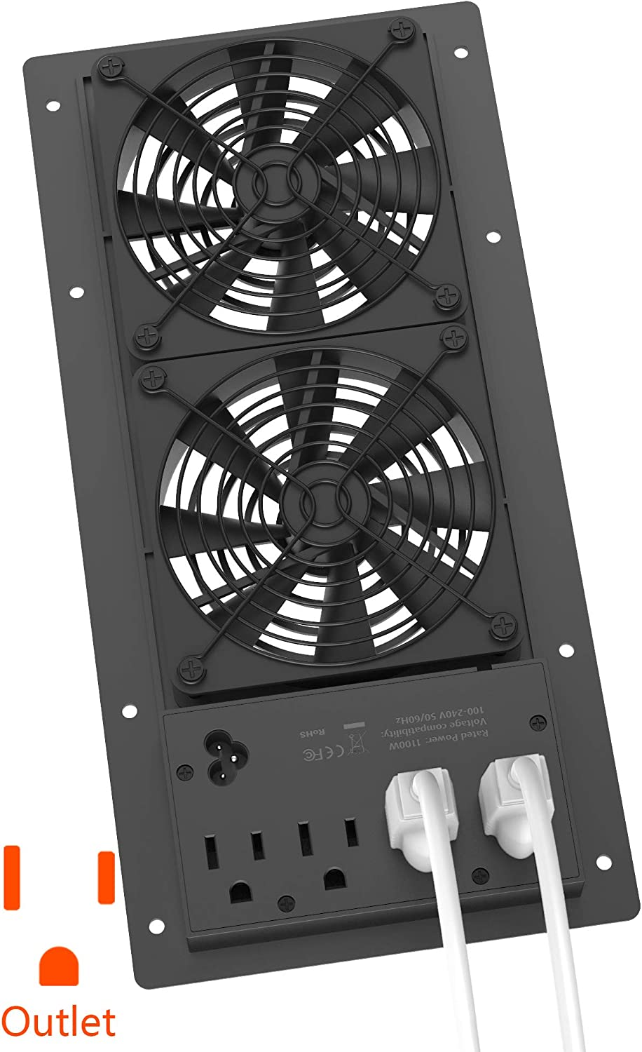 Hiree Quiet Cooling AC Fan Dual 4 inch Ventilation Axial Muffin Fan with 4 AC Power Outlet for Home Theater Receiver DVR Amps AV Computer Cabinet Closet Electronic Equipment DIY Vent Exhaust System