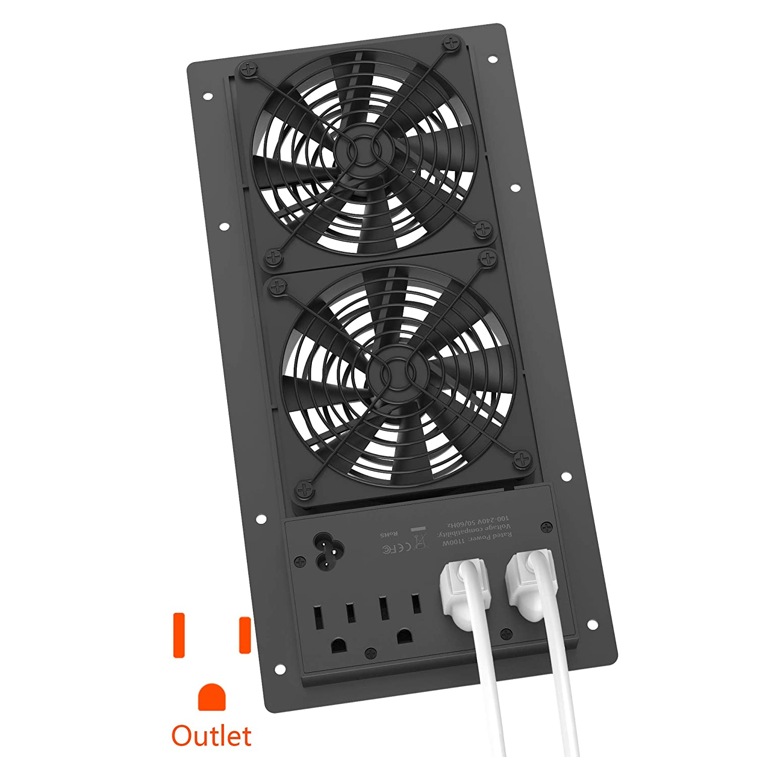 Hiree Quiet Cooling AC Fan Dual 4 inch Ventilation Axial Muffin Fan with 4 AC Power Outlet for Home Theater Receiver DVR Amps AV Computer Cabinet Closet Electronic Equipment DIY Vent Exhaust (Black)