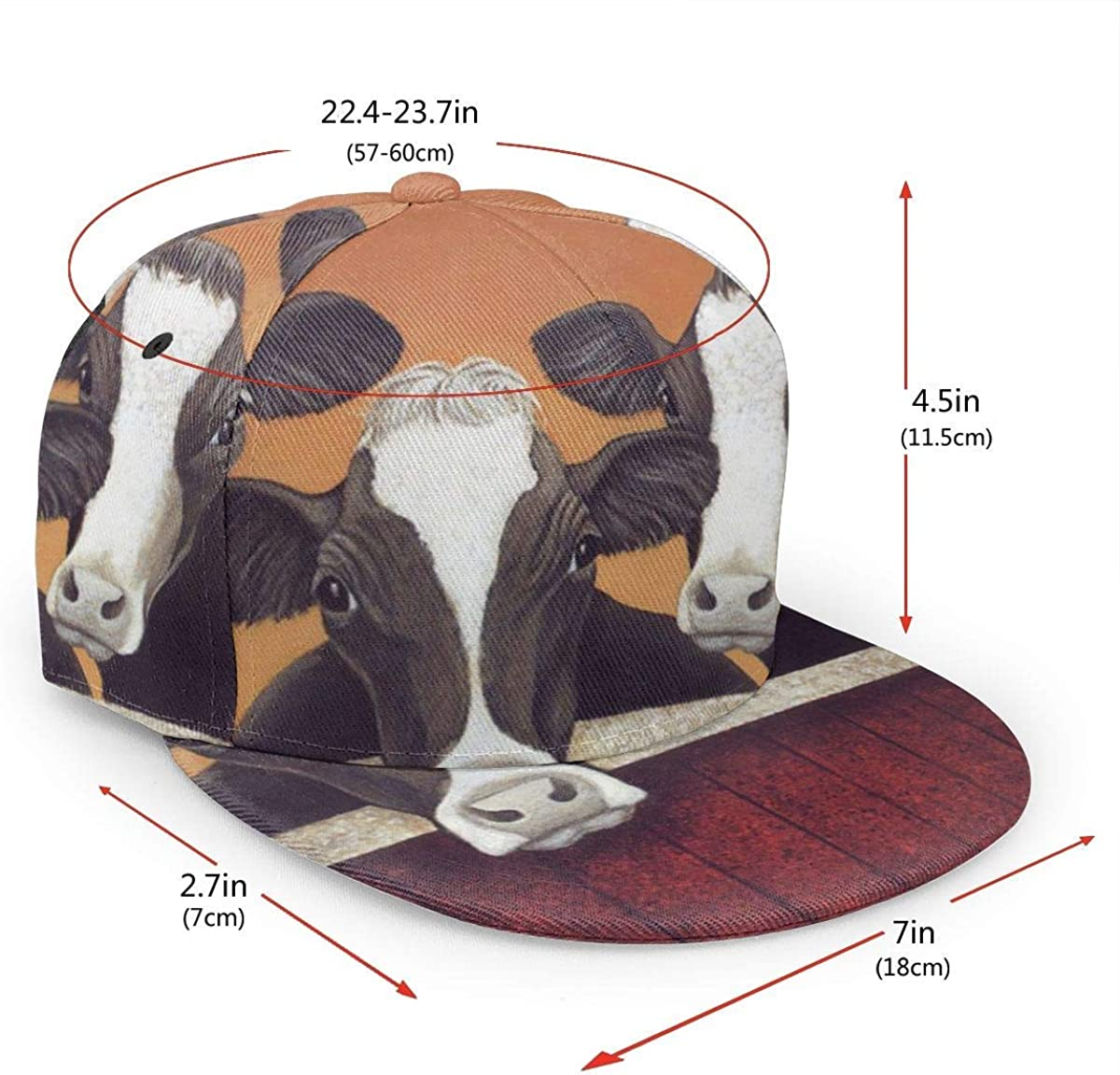 Farm Cow Lightweight Unisex Baseball Caps Adjustable Breathable Sun Hat for Sport Outdoor Black