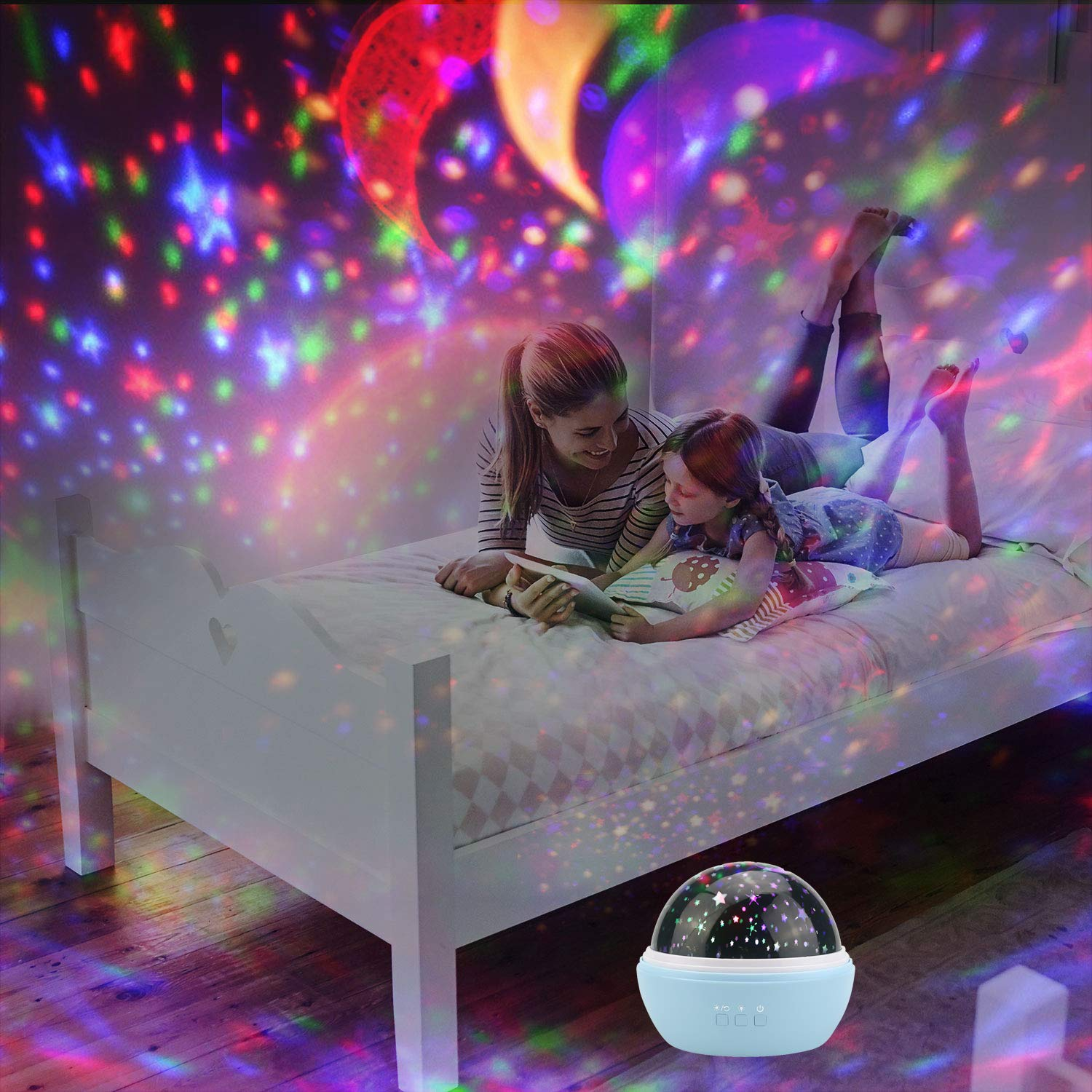 Black USB Battery Powered Projector Light Powcan Novelty Moon Star Projector Night Light Rotating Starry LED Baby Projection Lamp Ocean Projector Film Changeable