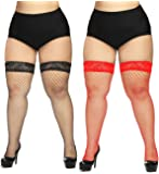 CURRMIEGO Women's Fishnet Thigh Highs Plus Size Stay-up Stocking with Lace top