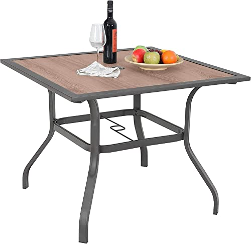 Sophia William Patio Dining Table Umbrella Table Outdoor Coffee Bistro with Hole for Lawn Garden Pool Sturdy Metal Steel Frame Easy to Care Special Wood-Like Table top Design 37 x 37 Square Table