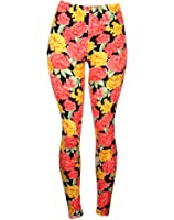 Sexy Comfortable Colorful Leggings w/ Pink & Yellow Roses Floral Design