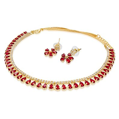 1b489899e3 Buy AD Gold Plated American Diamonds Pink Stone Choker Necklace with  Earrings Online at Low Prices in India | Amazon Jewellery Store - Amazon.in